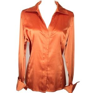 Silky Orange V-neck Button-down Blouse with Cuffs